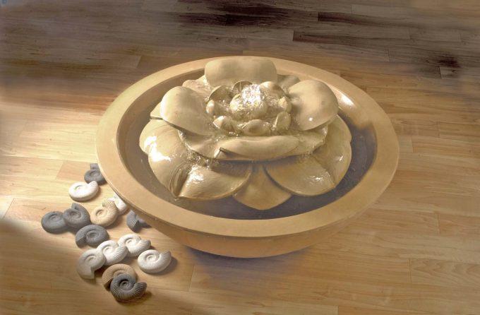 Lotus Flower Pebble Bowl Fountain