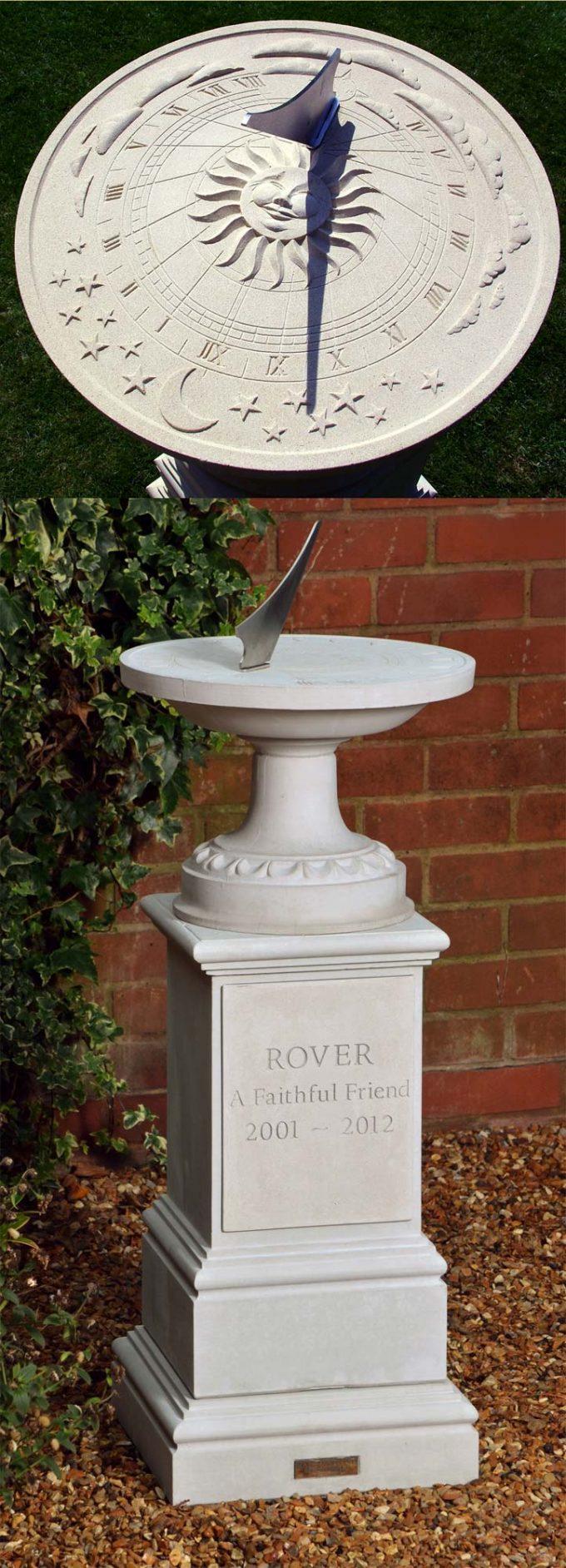 Pet Memorial Celestial Sundial & Pedestal