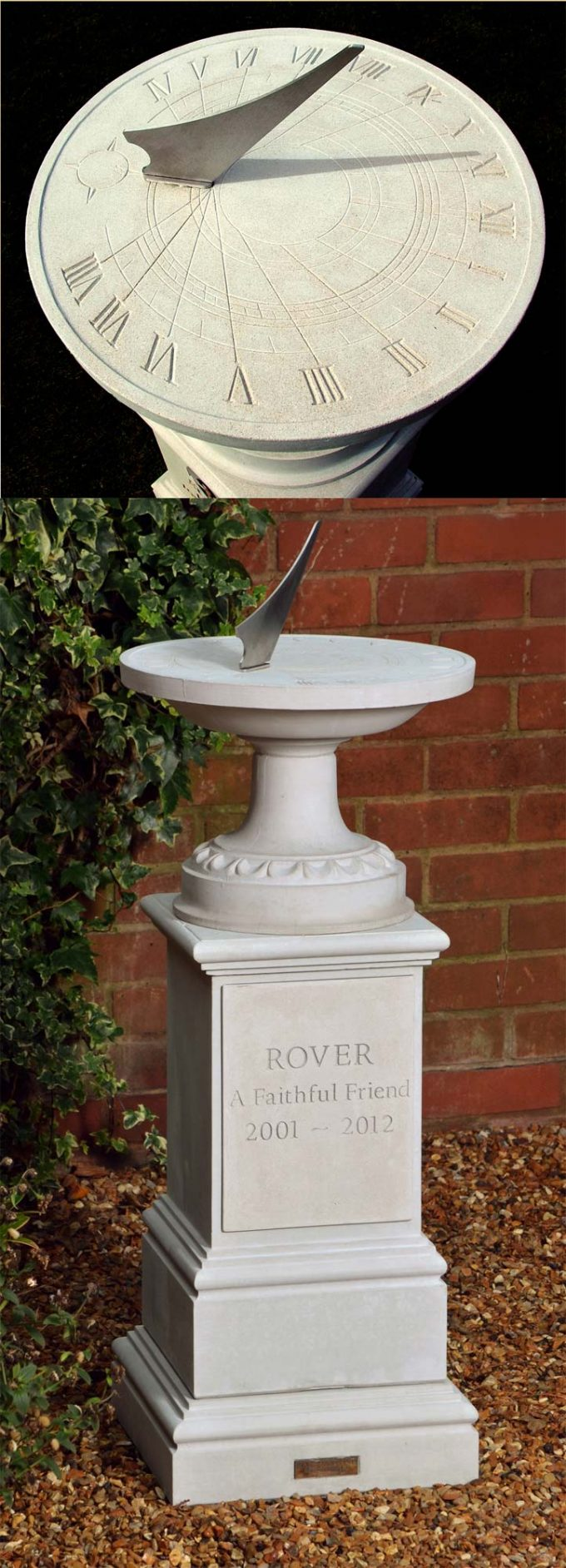 Pet Memorial Classical Sundial & Pedestal