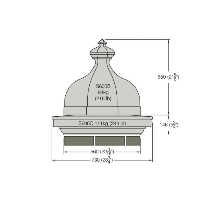 Dome Finial (Octagonal) - S600B