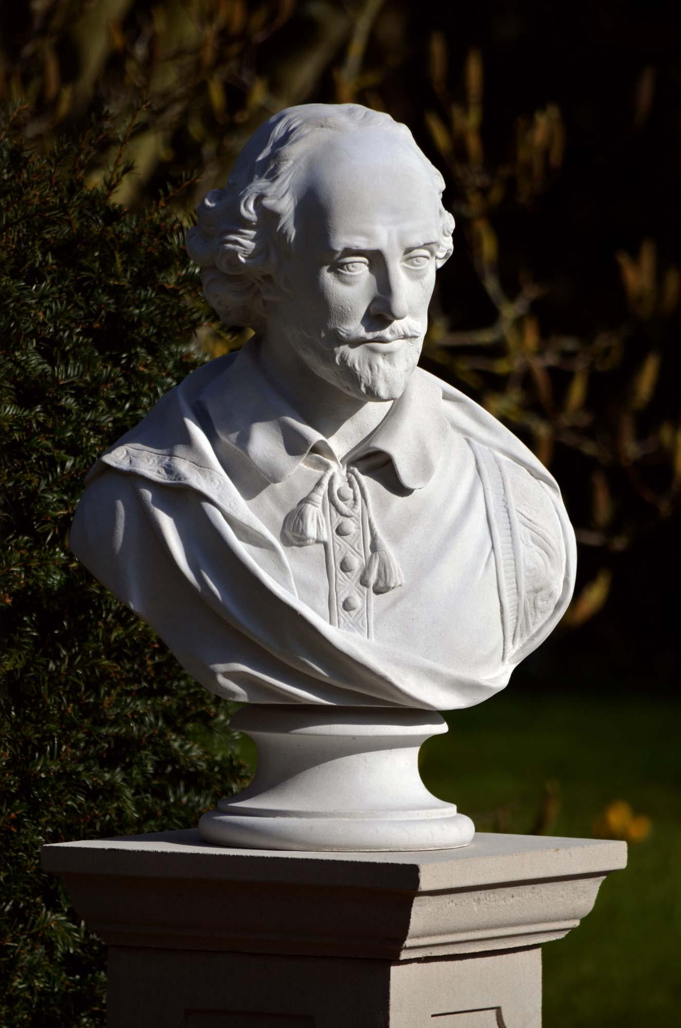 Reconstituted Stone Outdoor Garden Statue Ornament William Shakespeare Bust Art