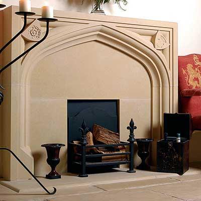 Tudor Chimney Piece (rose/thistle shields) including hearth