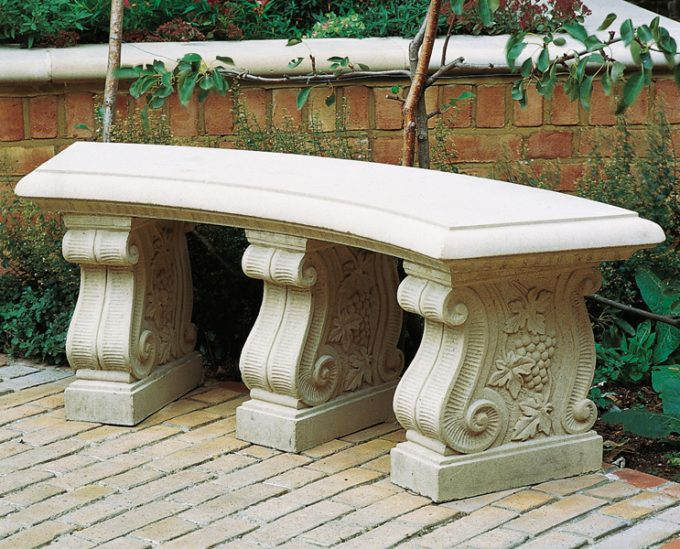 Curved 60 inch Stone Garden Bench Seat