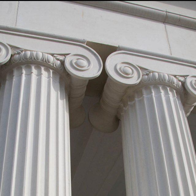 White cast stone columns example, handmade by haddonstone