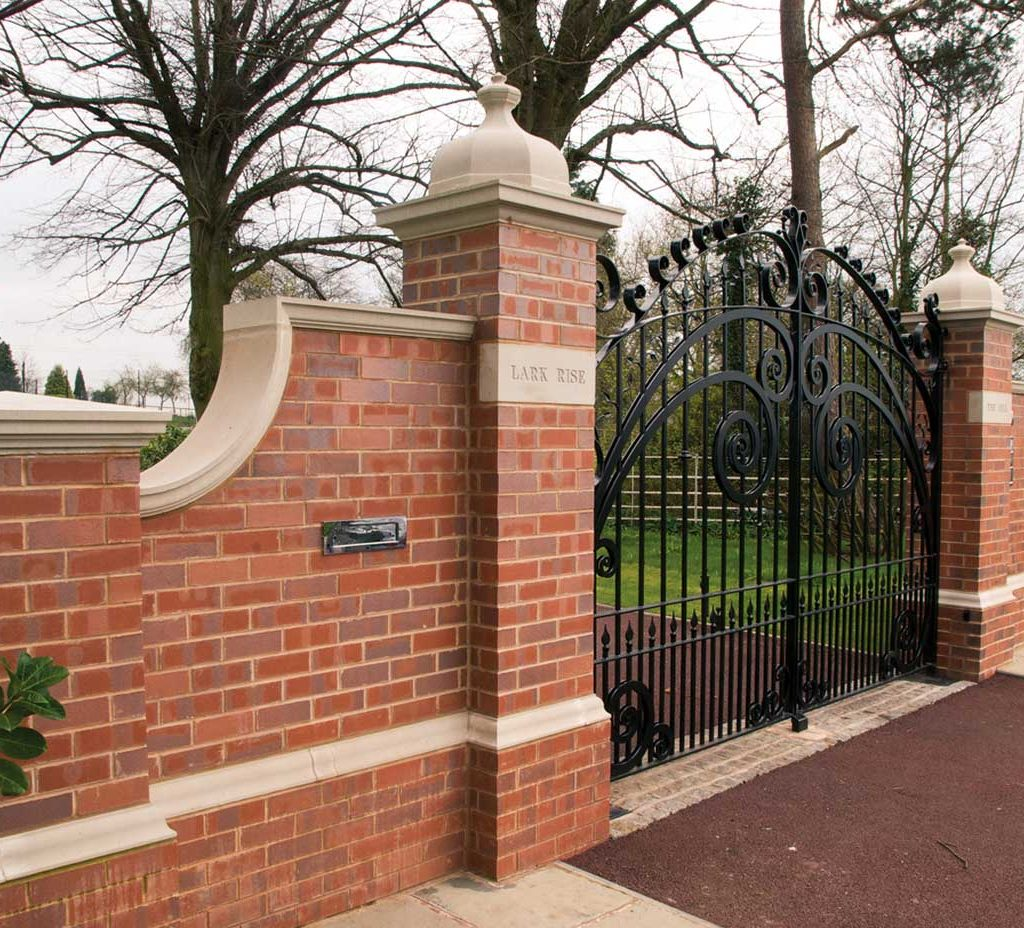 coping stones on brick gate example