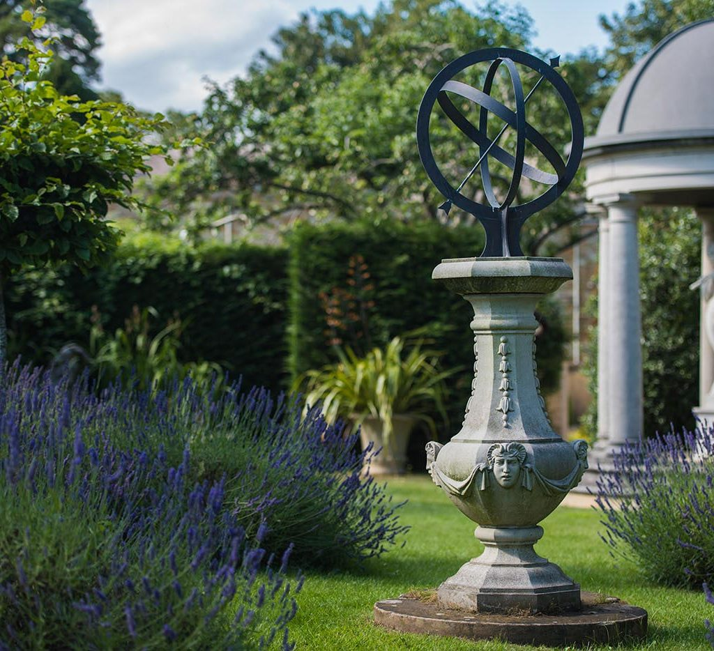 haddonstone sundial photographed in the show gardens