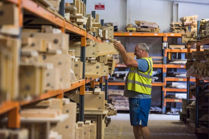 a haddonstone colleague in the storage facility