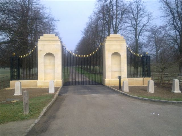 A photo of the new gates at tyringham hall