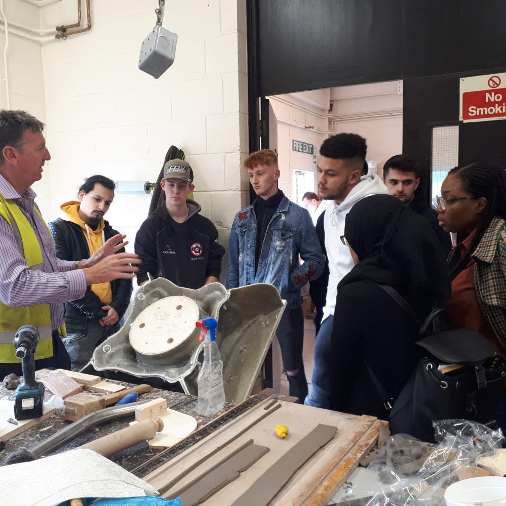 University of Northampton students at the haddonstone factory