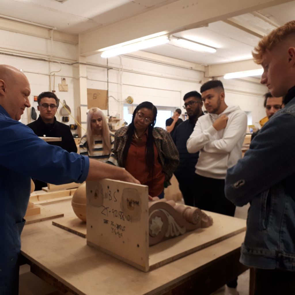 the haddonstone team show the University of Northampton students around the factroy
