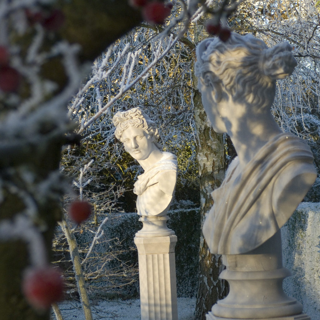 Haddonstone busts photographed in the snow