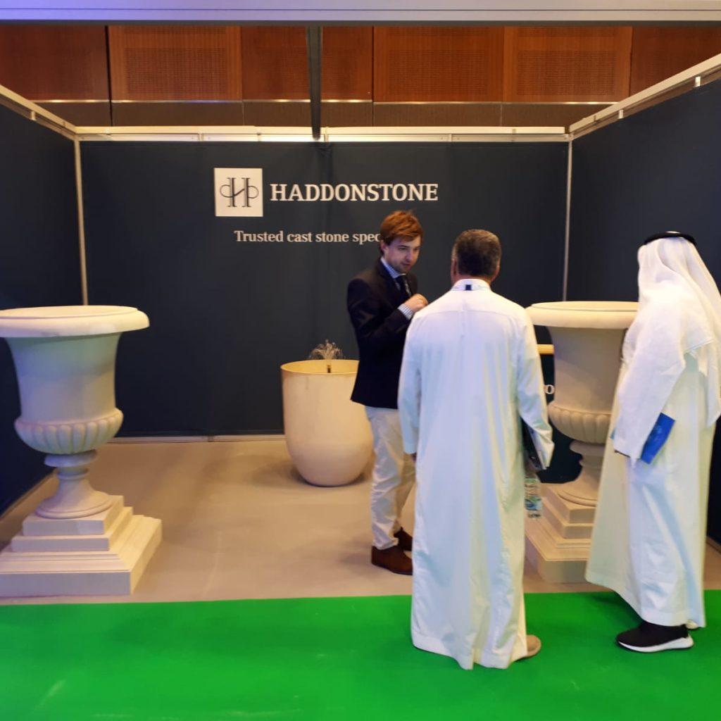 The Haddonstone team chat to visitors at the Urban Design and Landscape Expo at the Dubai Big 5 in Dubai