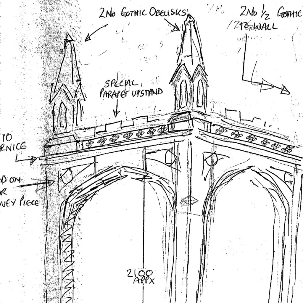 An initial sketch of the Haddonstone belvedere at the laskett gardens