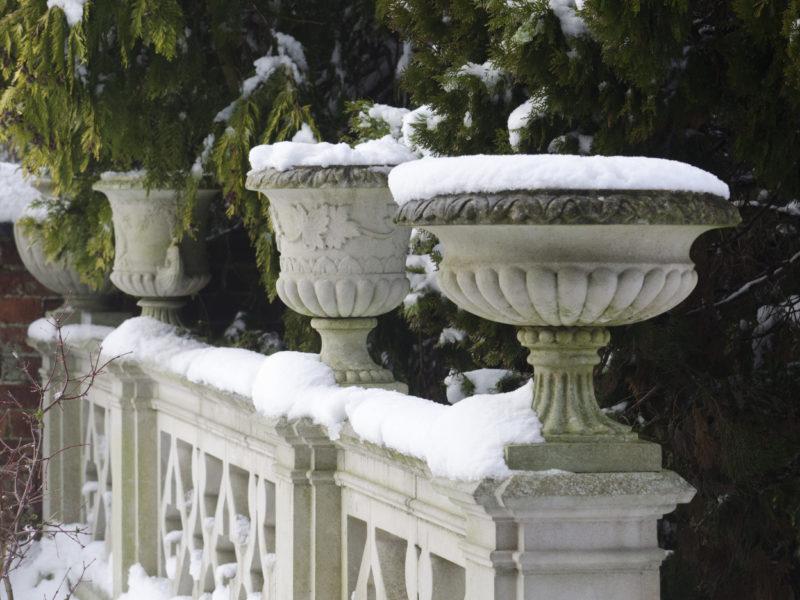 Haddonstone stonework designs in the snow