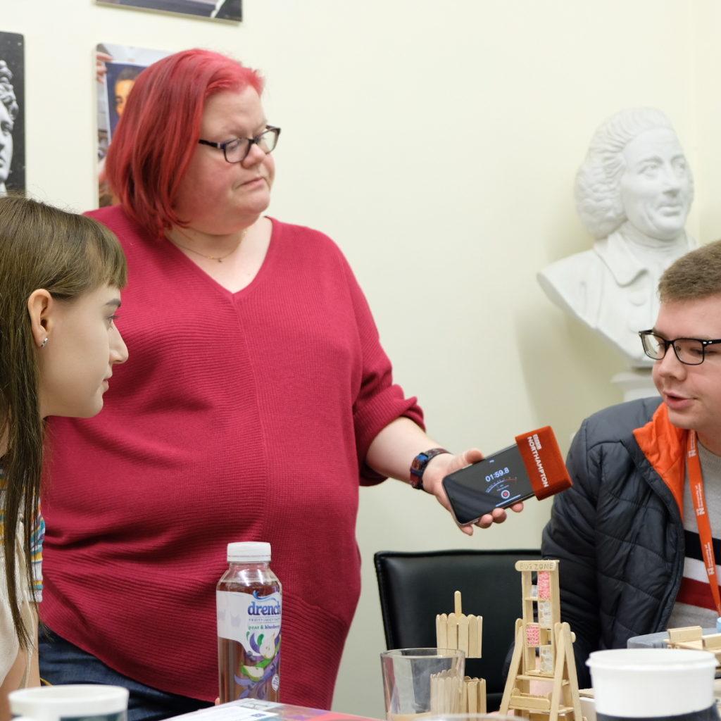 helen blaby interviews students for bbc radio northampton