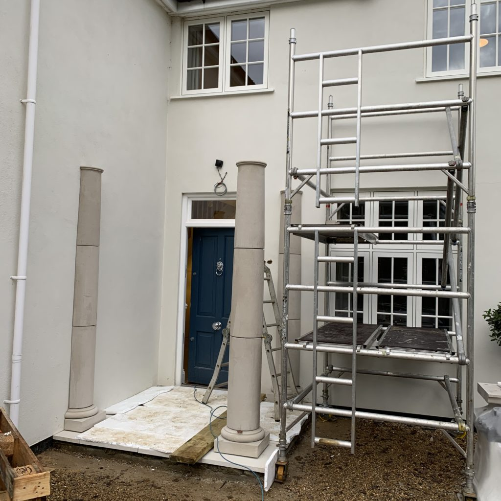 Rebecca's portico during installation