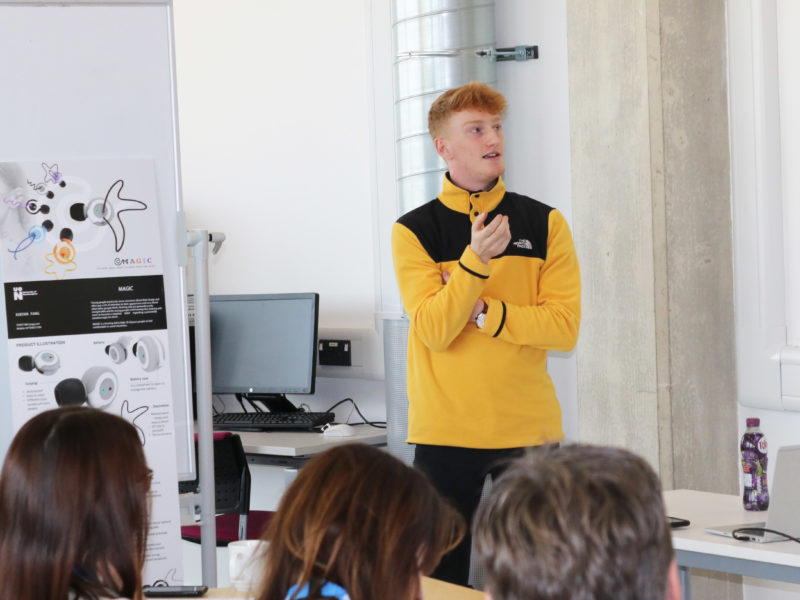 Jack Wisby, second year BSc Product Design student at the University of Northampton presents his new product ideas to Haddonstone