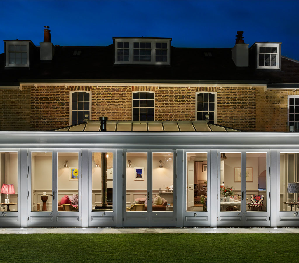 Image of a Westbury Garden Room orangery at dusk