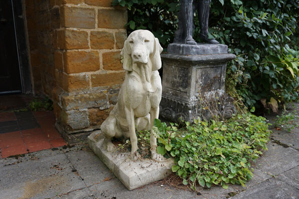 Jacquemart Hunting Dog statues (weathered) - right and left available (sold as a pair)