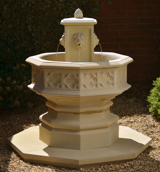 Gothic Fountain with Lion Centerpiece