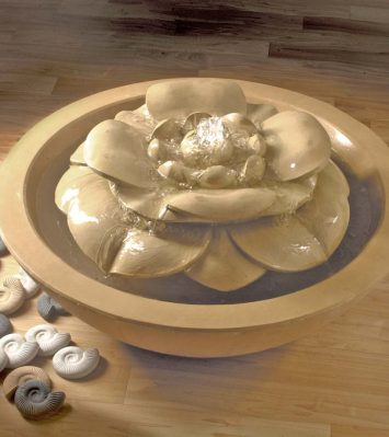 Lotus Flower Pebble Bowl Fountain