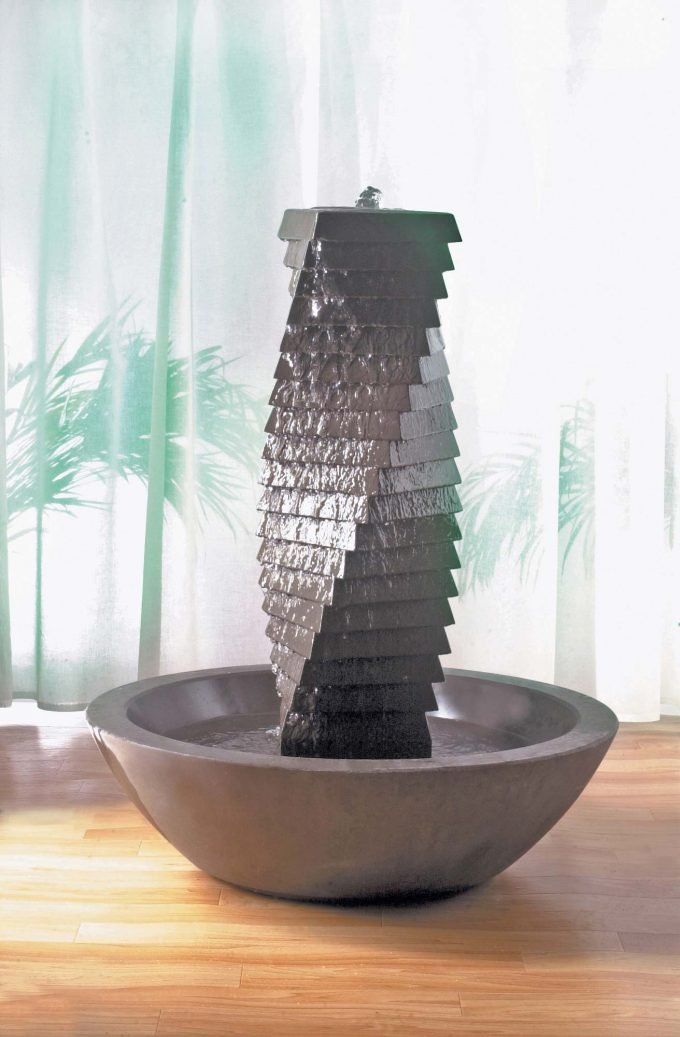 Spiral Tower Pebble Bowl Fountain
