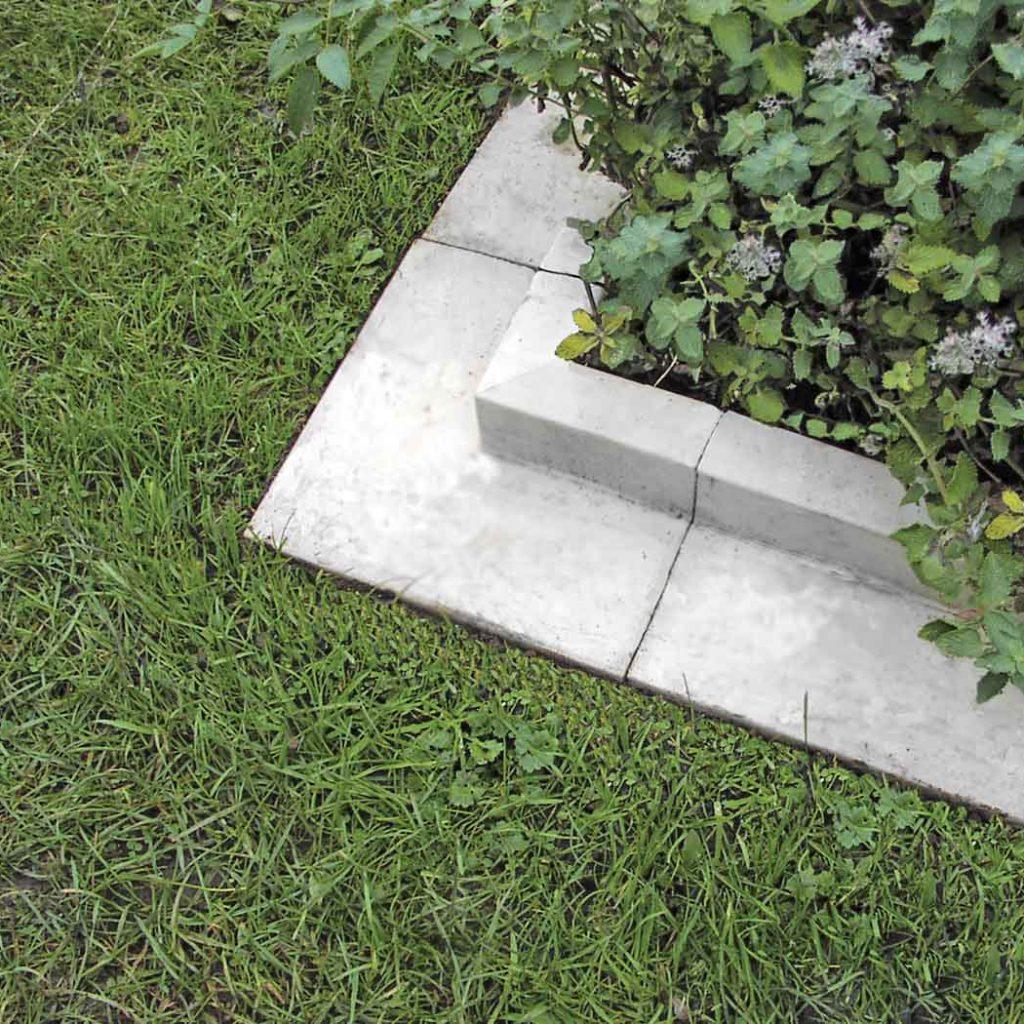 white square design cast stone lawn edging