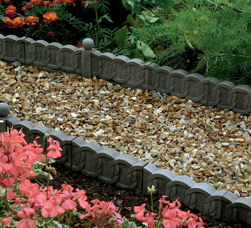 cveltic design grey cast stone lawn edging