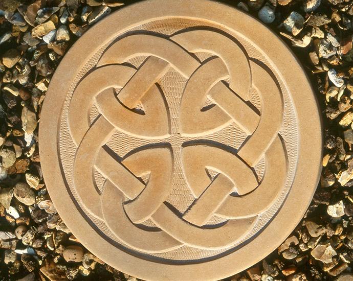 celtic stepping stone, celtic design disc for garden