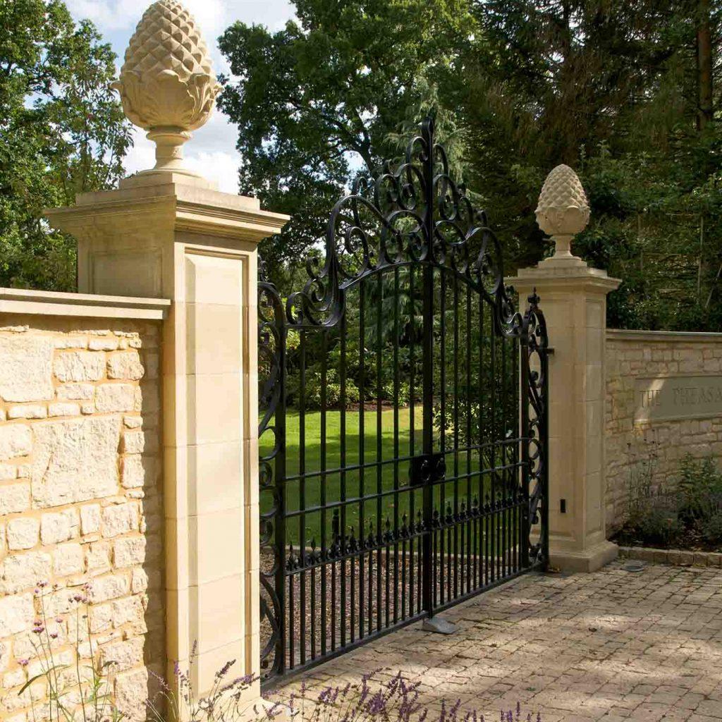 cast stone gate piers by haddonstone