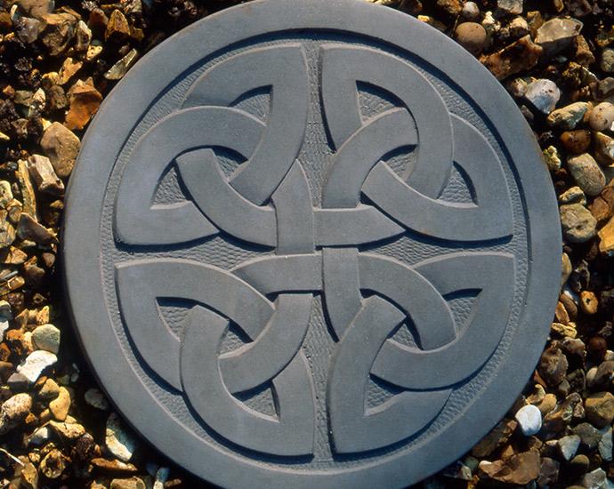 celtic stepping stone, celtic design disc for garden in grey