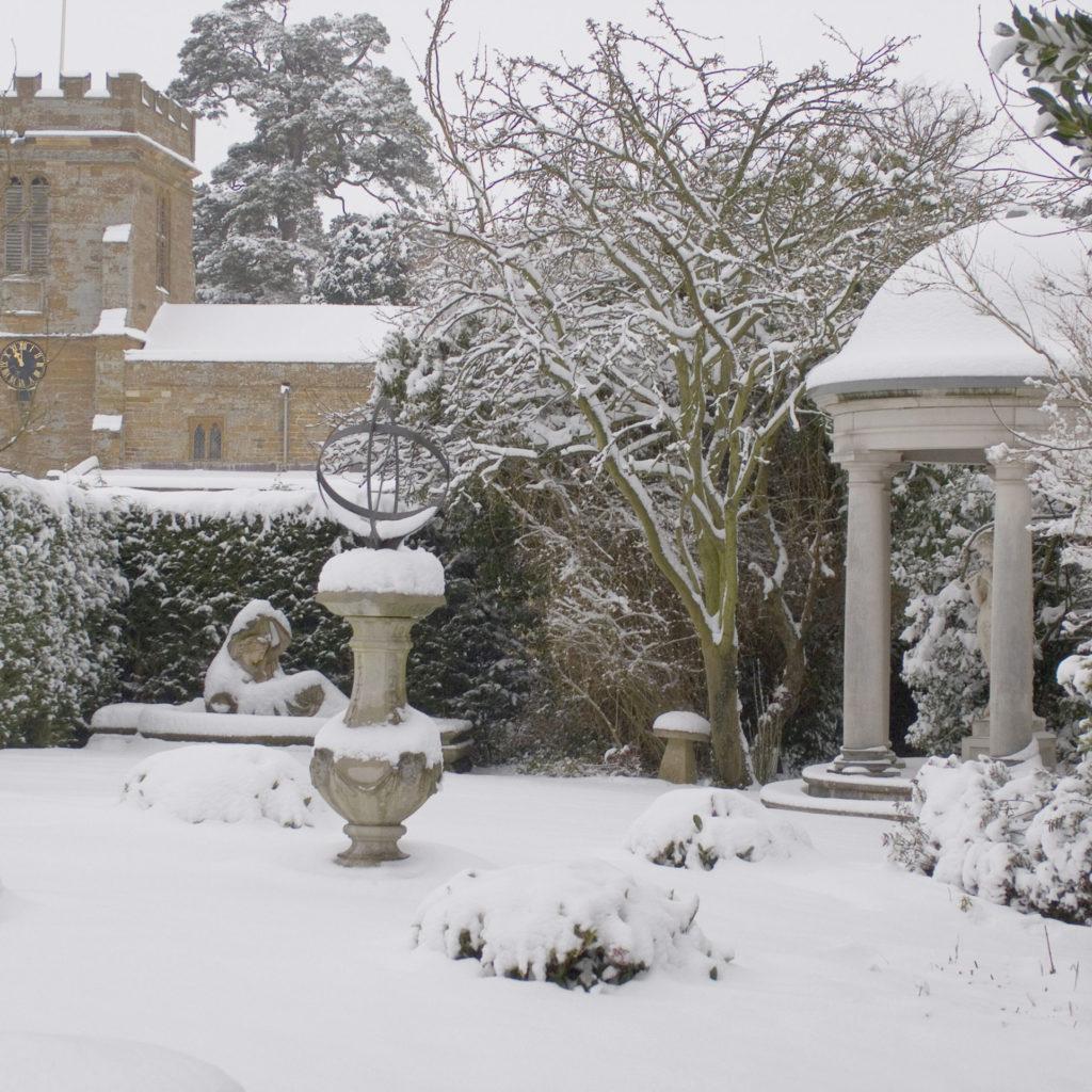 Haddonstone stonework in the snow