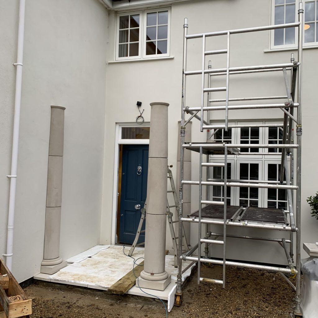 Rebecca's portico during installation