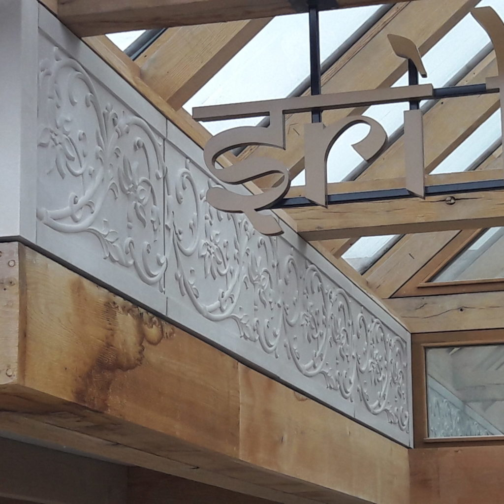 bespoke cast stone facia panels at the Bhaktivedanta Manor in Watford