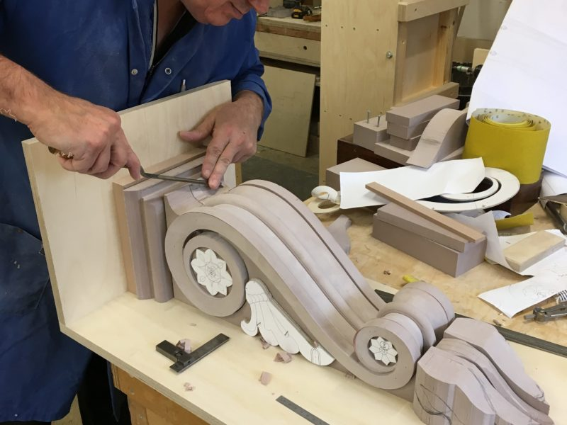 a haddonstone colleague working on a decorative bracket