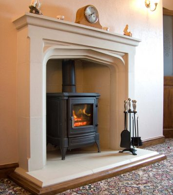 Tall Manor Fireplace including Hearth